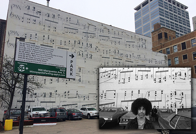 The Schmitt Music Company three-story mural today, used as a backdrop for a 1977