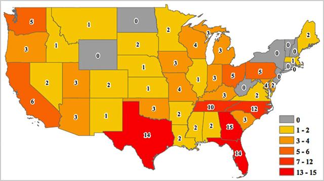 Incidents of school shootings between 2013 and 2015.