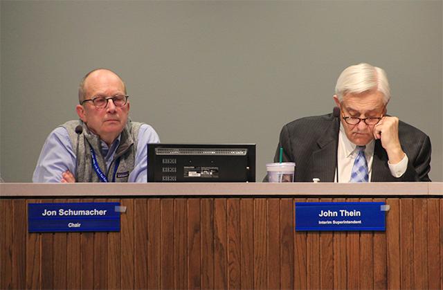 Board Chair Jon Schumacher and Interim Superintendent John Thein