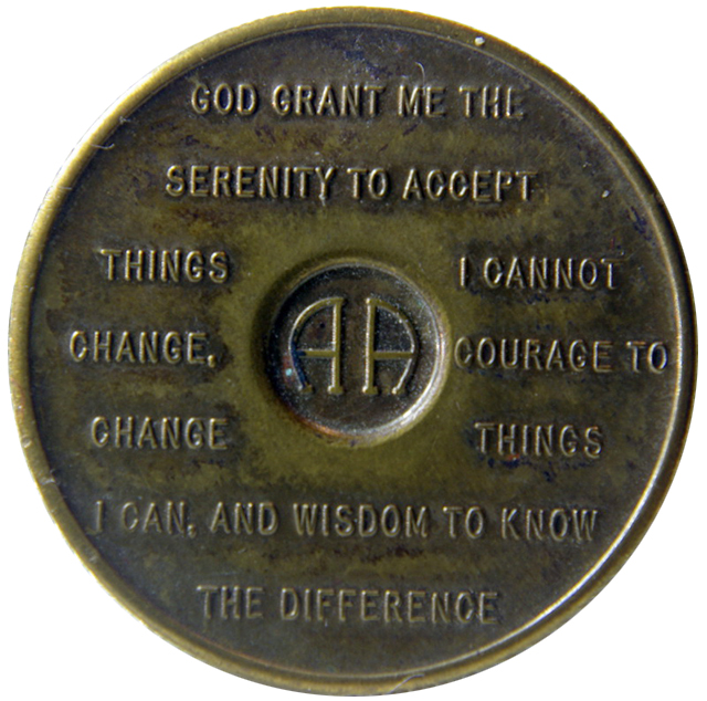 Serenity Prayer featured on the back of an Alcoholics Anonymous medallion