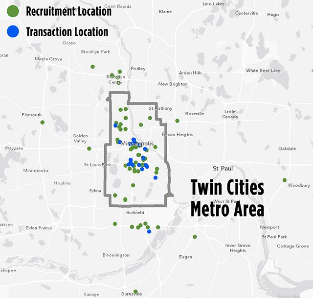 Metro area recruitment and transaction locations