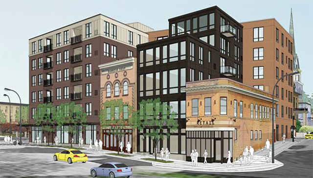 The approved six-story design for the former Nye's site.