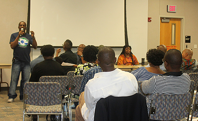 A group of West African leaders meeting at Brooklyn Center's library