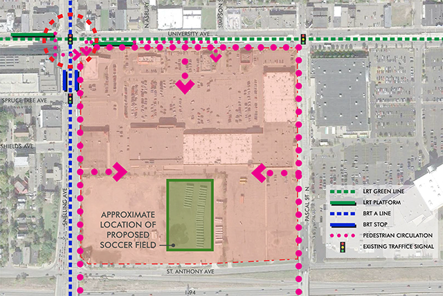 Potential transit patterns in and around the proposed stadium site.