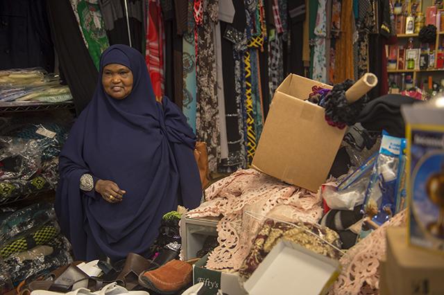 Sofia Ahmed in her shop, Guled Merchandise