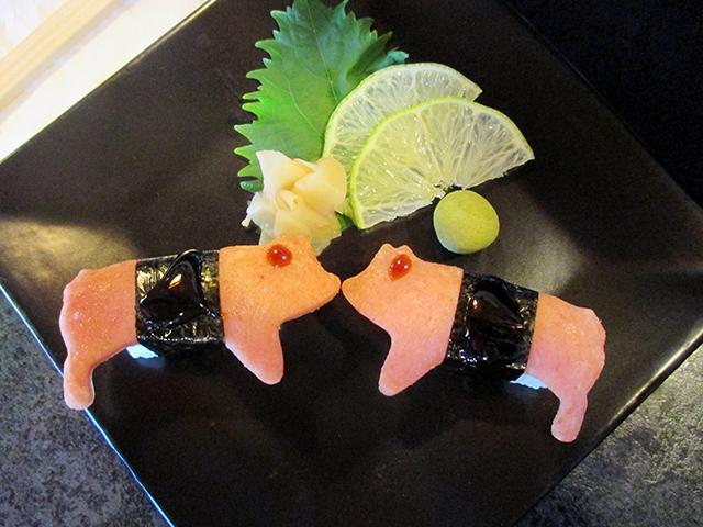 Hawaiian-style nigiri rolls with Spam are on the menu at Midori's Floating World