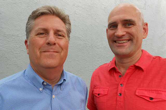 Steve Kittleson, left, and Kevin Terrell of the MSP FairSkies Coalition.