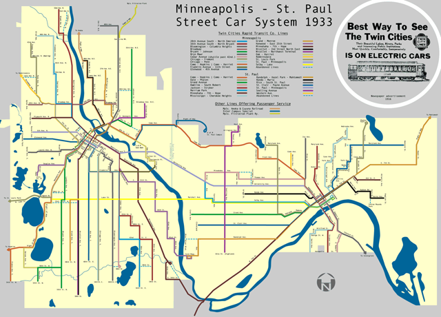 Streetcar routes in Minneapolis and St. Paul, 1933