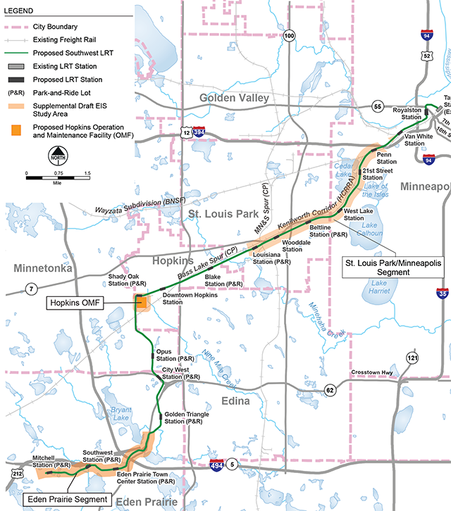The Southwest LRT Corridor and Supplemental Draft EIS Study Areas