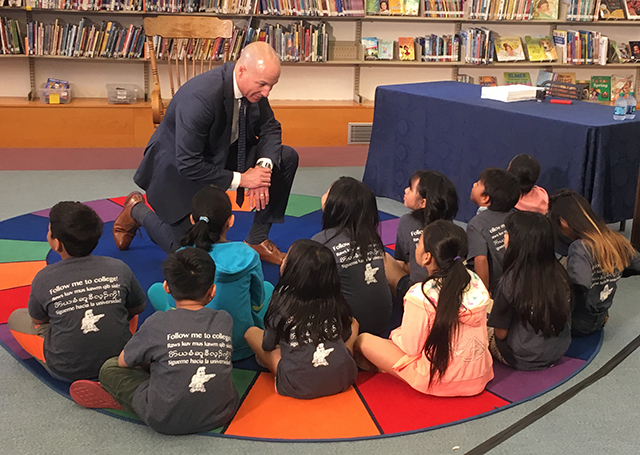 Supt. Joe Gothard speaking to students at Bruce Vento Elementary School