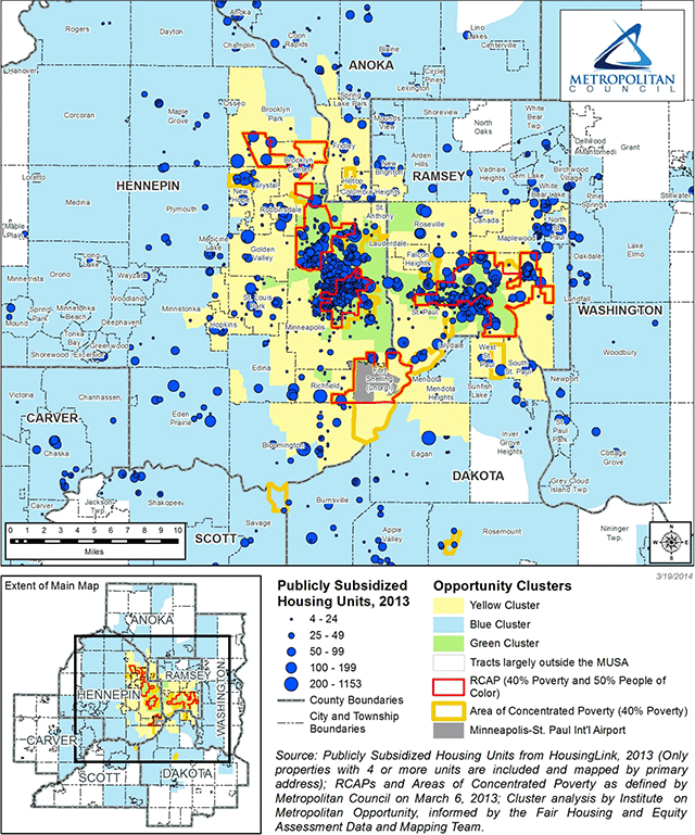 Publicly subsidized affordable rental housing units and opportunity clusters