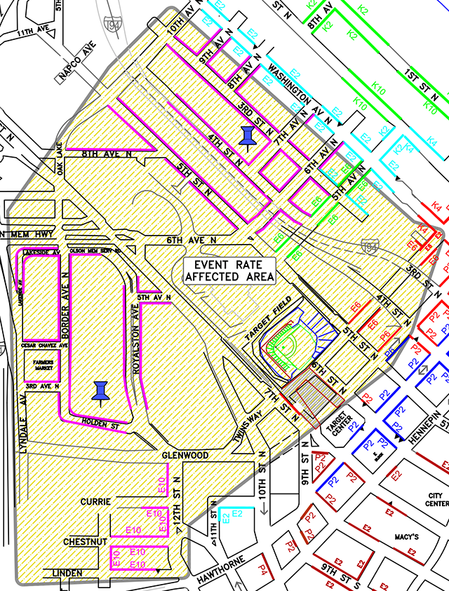 Target Field parking chart