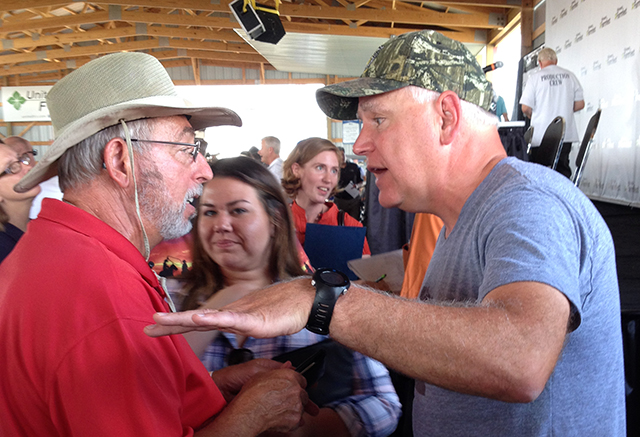 Rep. Tim Walz chatting with Farmfest attendees in 2016.
