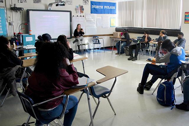 Tina Schaefer, background, teaching 12th grade CIS writing class