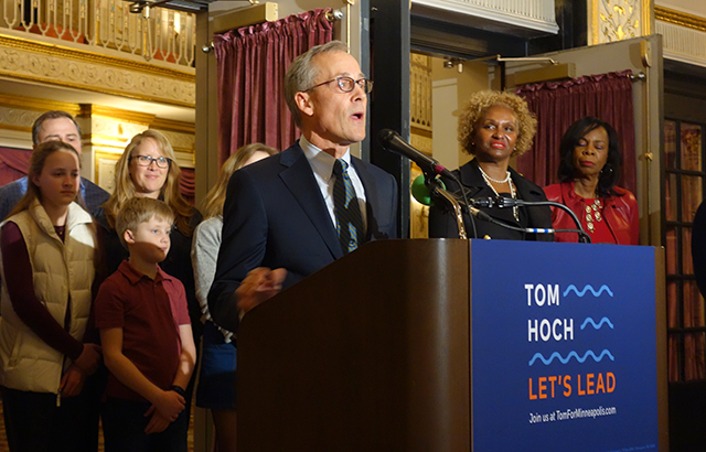Tom Hoch announcing his intention to run for mayor of Minneapolis