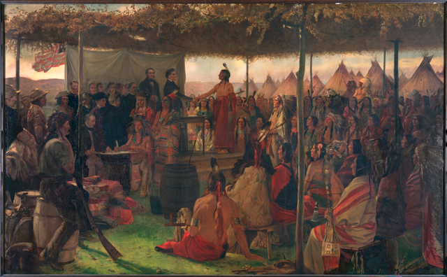 """The Treaty of Traverse des Sioux"" by Francis Davis Millet"