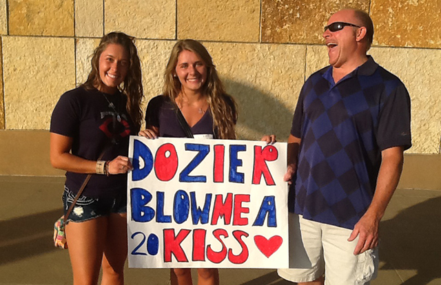 Dozier Blow Me A Kiss sign
