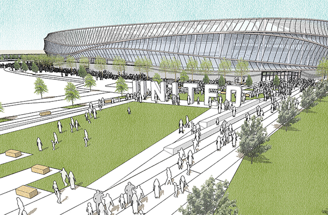 A rendering of United Champions Plaza south of the stadium.