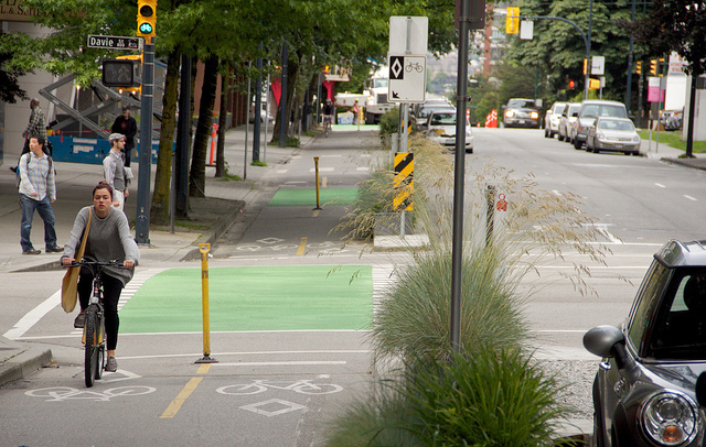 A cycle track shown on a Vancouver street.