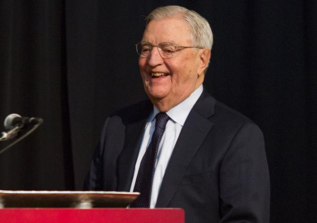Walter Mondale speaking at Thursday night's dedication ceremony.