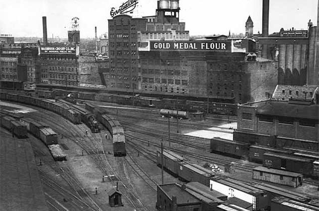 The Washburn-Crosby mills and railroad yard in Minneapolis, circa 1940.