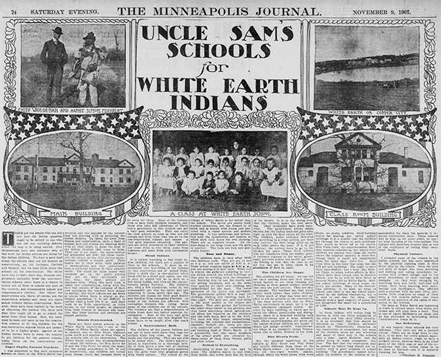 Minneapolis Journal featuring an article on the White Earth Indian school