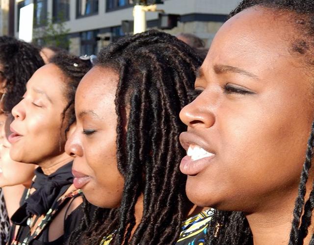 Protesters Niara Williams, Ayaah Natala and Kaara Vasquez