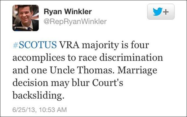 DFL Rep. Ryan Winkler apologized after posting this tweet in June 2013.