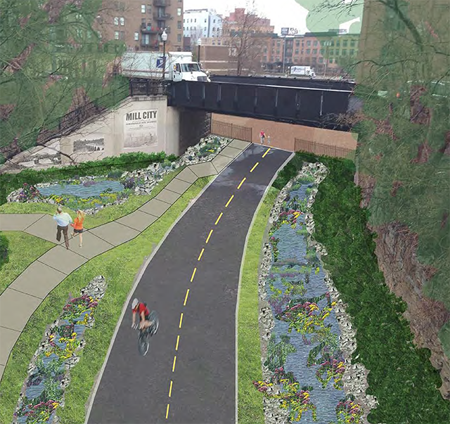 View of proposed trails connection from 3rd Av. S. bridge.