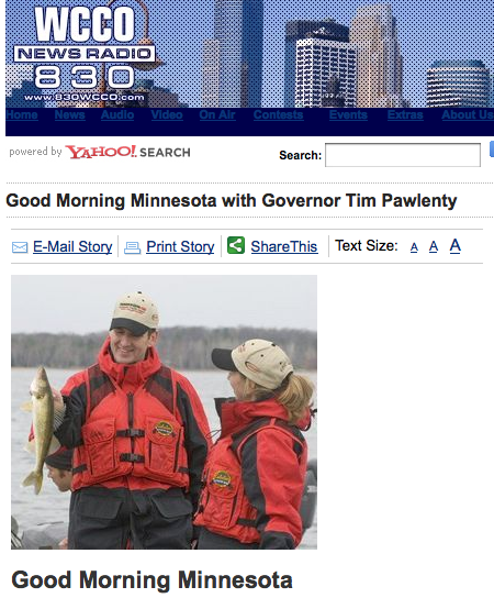WCCO.com's web page for the guv's show