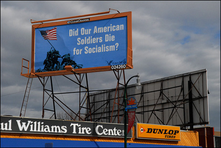 'Did Our American Soldiers Die for Socialism' billboard