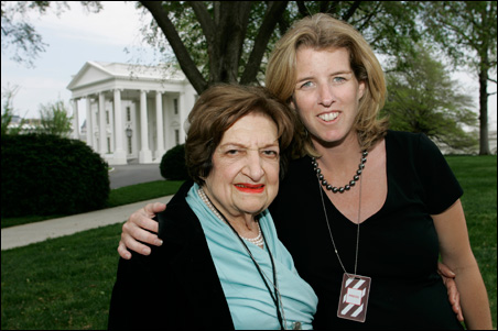 Helen Thomas and Rory Kennedy interrupt their interview for a photo-op.