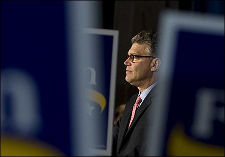 Democratic challenger Al Franken awaited the returns with DFL supporters.