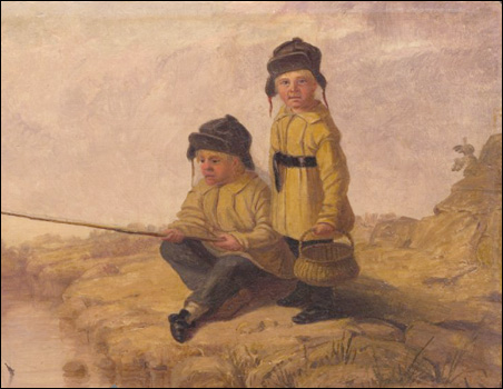 Artist's Sons Fishing at Fort Snelling, oil on canvas, 1840-1848