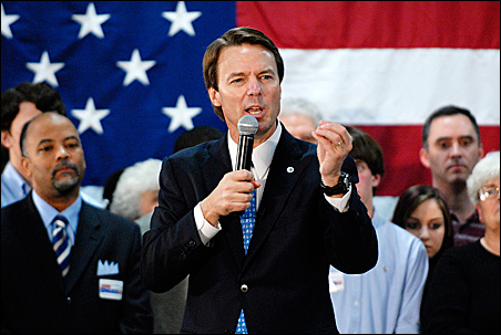 John Edwards speaks to supporters at a campaign rally at Dreher High School in Columbia, S.C., earlier this month.