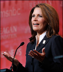 Rep. Michele Bachmann speaking during Wednesday night's debate at the Reagan Library.