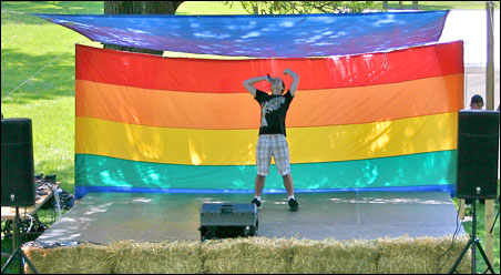 A performer at the Pride in the Park picnic