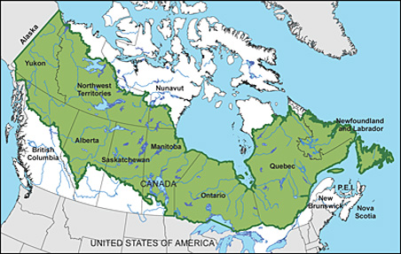 Map showing the location of the boreal forest.