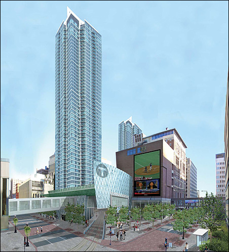 The city and its consulting team pictured as part of their plan a tower rising over the transit station and an adjoining plaza, but developers have shown no interest so far.