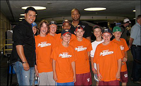 The Minneapolis Millers with Francisco Liriano (center) and Randy Ruiz (left). Max Uetz is second from Liriano's right, in the back row.