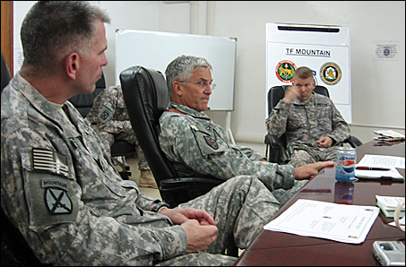 Gen. George Casey, center, during one of his meetings in Iraq.