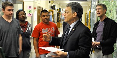 Students chat with Sen. Al Franken at Patrick Henry High.