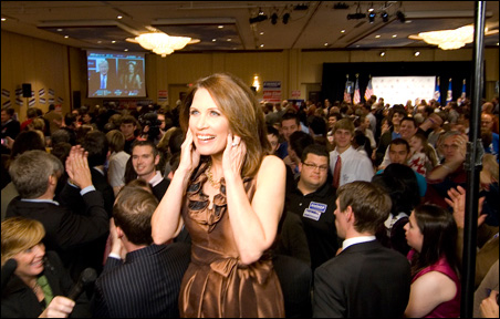 Rep. Bachmann shown during an interview with MSNBC on election night.
