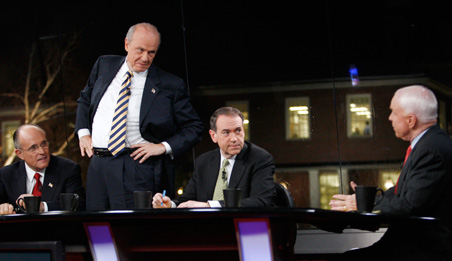Three former presidential contenders, seen here at a New Hampshire forum in January, are considered possibilities for John McCain's Cabinet should he (at far right) win the presidency: Rudy Giuliani at left, Fred Thompson (standing) and Mike Huckabee.