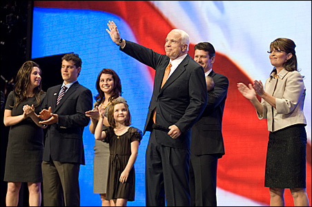 Sen. John McCain joins Gov. Sarah Palin and her family onstage Wednesday night following her vice-presidential acceptance speech.