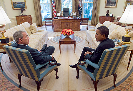 President Bush and President-elect Obama meet Nov. 10 in the Oval Office.
