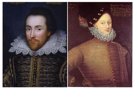 William Shakespeare (left) and Edward de Vere