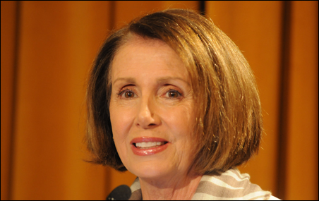 House Democratic Leader Nancy Pelosi called for steady funding to international aid programs even in the face of steep federal budget cuts.