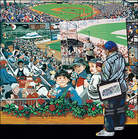 Like Norman Rockwell doing his self-portrait, Andy Nelson painted a Midway Stadium mural showing him painting a mural.