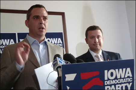 "Iowa Democratic Party vice chair Mike Kiernan, left, and Minnesota DFL chairman Ken Martin billed Pawlenty's announcement as his ""Selective Truth Tour."""